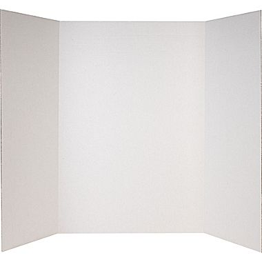 white tri-fold display board